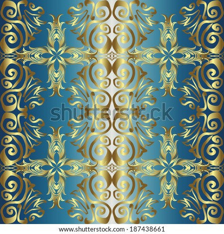 Seamless pattern on blue background. Vector illustration.