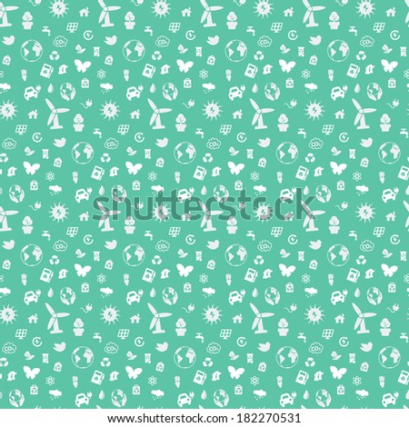 Seamless pattern on environmental issues from a variety of objects on a green background. Pattern ready for use. Just paste it on the canvas and repeat. - stock vector
