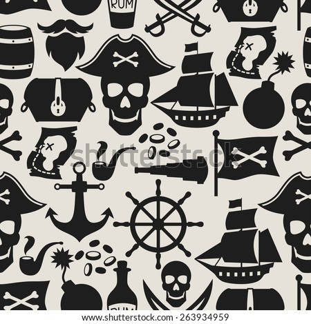 Seamless pattern on pirate theme with objects and elements. - stock vector