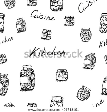 Seamless pattern on the kitchen theme, canned tomatoes and cucumbers, jam, healthy food, vegetarian food - stock vector