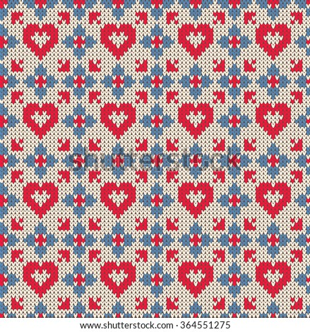 Seamless pattern on the theme of holiday Valentine's Day with an image of the Norwegian and fairisle patterns. Hearts and blue flowers on a white background. Wool knitted texture. Vector Illustration - stock vector