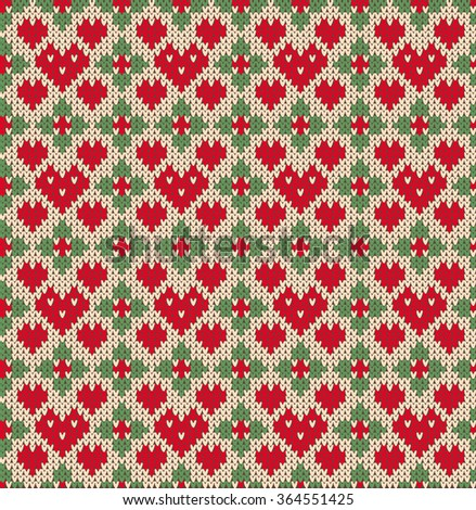 Seamless pattern on the theme of holiday Valentine's Day with an image of the Norwegian and fairisle patterns. Red hearts and flowers on a beige background. Wool knitted texture. Vector Illustration - stock vector