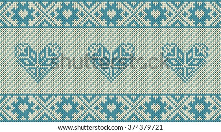 Seamless pattern on the theme of holiday Valentine's Day with an image of the Norwegian and fairisle patterns. Blue heart on a beige and turquoise background. Wool knitted texture. Vector Illustration - stock vector