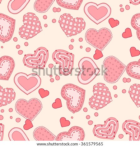 Seamless pattern on the theme of love. Vector illustration of hearts, bows, arrows and other objects.