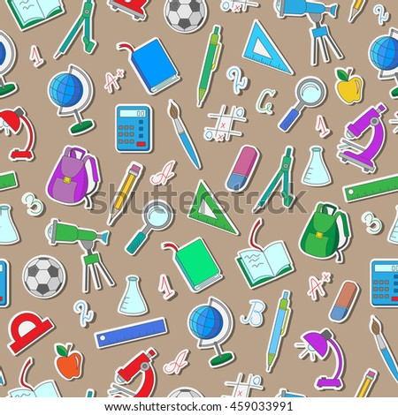 Seamless pattern on the theme of the school, a simple color stickers on a brown background