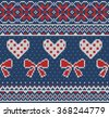 Seamless pattern on the theme of Valentine's Day with an image of the Norwegian and fairisle patterns. Red and white bows and hearts on a blue background. Wool knitted texture. Vector Illustration - stock vector