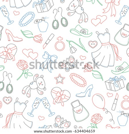 Seamless pattern on the theme of women, women's accessories and items, contour icons are drawn with colored markers on white background
