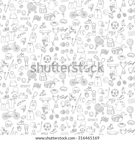 Seamless pattern on transparent background. Hand drawn doodle sport set. Vector sketchy sport related icons, tennis, golf, baseball, basketball, football, soccer, volleyball, rugby, hockey, fitness, boxing, running, bicycle - stock vector
