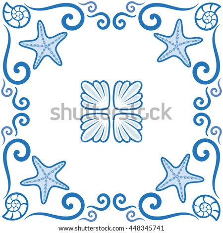Seamless pattern. Ornate sea themed portuguese and brazilian tiles azulejos with starfish and shells. Spanish talavera tiles. Vintage pattern. Abstract background. Vector illustration, eps10.