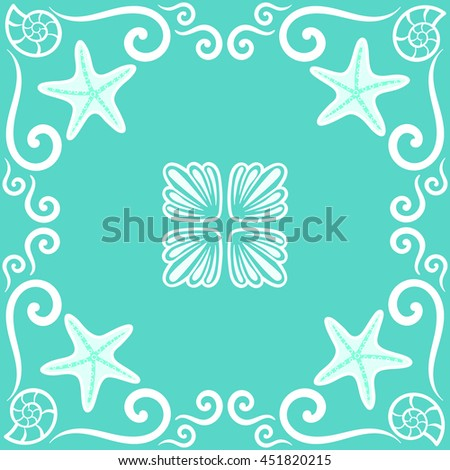 Seamless pattern. Ornate sea themed portuguese and brazilian tiles azulejos with starfish and shells in turquoise color. Spanish talavera tiles. Vintage pattern. Vector illustration, eps10.