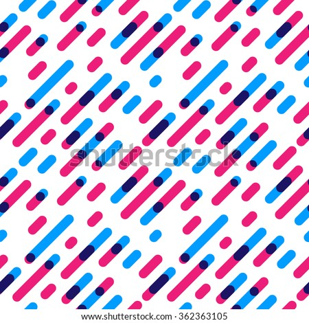 Seamless Pattern Overlap Diagonal Graphic Stripes with Round Corners. Vector illustration - stock vector