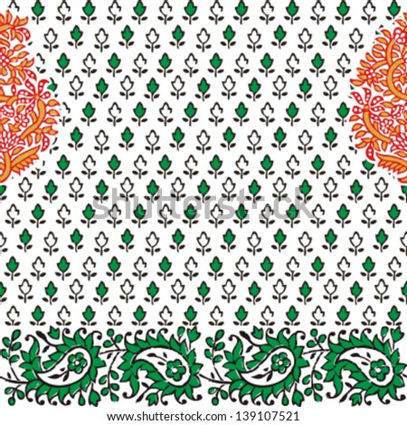 Seamless pattern paisley green and orange, vector - stock vector