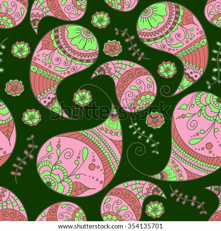 Seamless pattern. Paisley traditional ornament. Use it as background for web pages, fabric, wrapping, scrapbook - stock vector