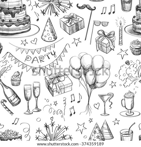 Seamless pattern . Party hand drawing for your design - stock vector