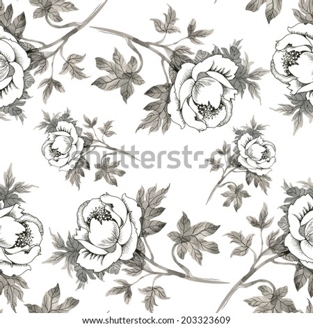 Seamless pattern pencil drawing roses on white background vector  - stock vector