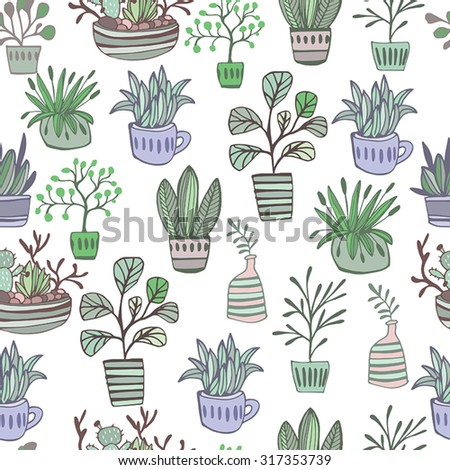 Seamless pattern plants in pots. Colorful Illustration, floral background. - stock vector