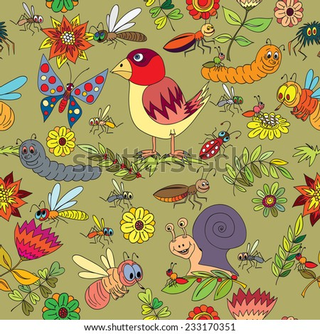 Seamless pattern. Plants, insects - stock vector