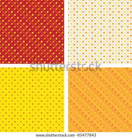 Seamless pattern pois orange yellow - stock vector