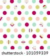 seamless pattern, polka dot fabric, wallpaper - stock vector