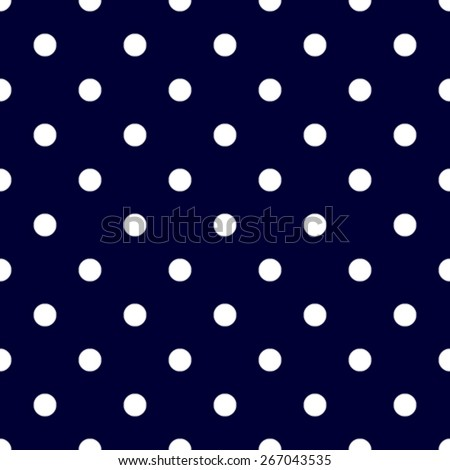 Seamless pattern polka dot style dark blue and white - stock vector