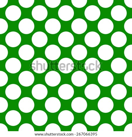 Seamless pattern polka dot style thick large circles on a monophonic background of green and white - stock vector