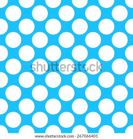 Seamless pattern polka dot style thick large circles on the plain background blue and white - stock vector