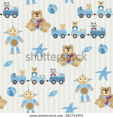 Seamless pattern. Pretty toys, kids animals. The pig, bear, cat sitting in a train. Teddy keep number one. Aliens with cute facial expression. Fish and starfish. Ball. Objects on a striped background - stock vector