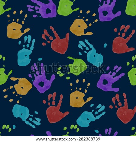 Seamless pattern. Prints of children's handprints. Colorful prints on a blue background. Vector, EPS10 - stock vector