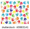 Seamless pattern, prints of hands. EPS v. 8.0 - stock vector
