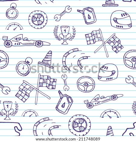 Seamless pattern racing element in a drawing style. Vector - stock vector