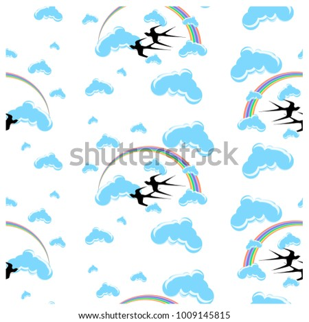Seamless pattern rainbow, flying swallows, clouds stock vector illustration design element