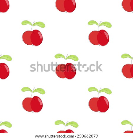seamless pattern red apple with green leaf. vector  illustration. vector wallpaper. design element. - stock vector