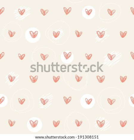 Seamless pattern. Repeating hand drawn hearts background