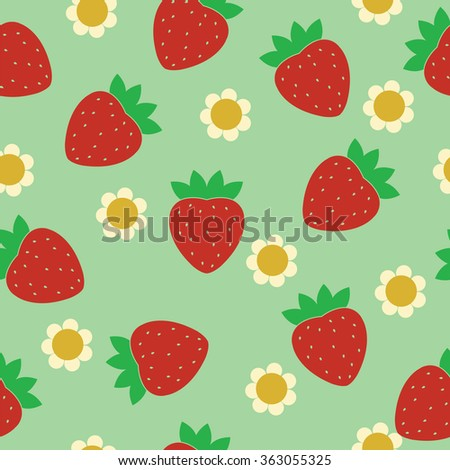 Seamless pattern Ripe red strawberries with flowers on a green background.- Illustration. - stock vector