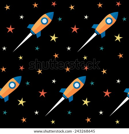 Seamless pattern. Rockets and stars over black background. Vector flat design