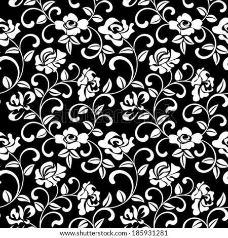 Seamless pattern - rose on a black background