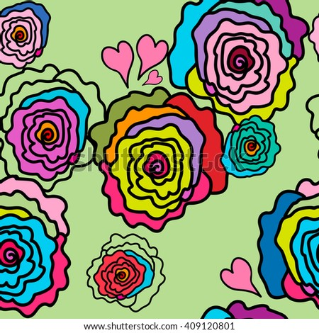 Seamless pattern. Roses of different colors on a very soft green background. For printing on packaging, bags, fabric, cups, laptop, furniture, etc. Vector. - stock vector
