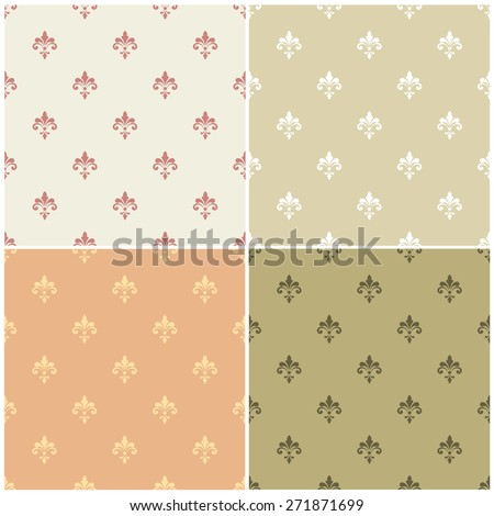 Seamless pattern. Royal pattern vector. Vintage pattern vector collection. Royal background set. Palace wallpaper background. Palace wall pattern. Royal wall background. Fleur de lis pattern vector - stock vector