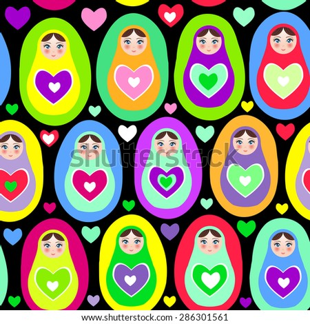 Seamless pattern Russian dolls Matryoshka on white background, bright colors. Birthday, baby shower, party, design. Vector - stock vector