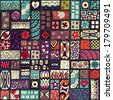 Seamless pattern. Sampler doodle flowers, leaves, hearts. Geometric pattern. Template frame design for card with set of doodle rectangles. Colored version. - stock