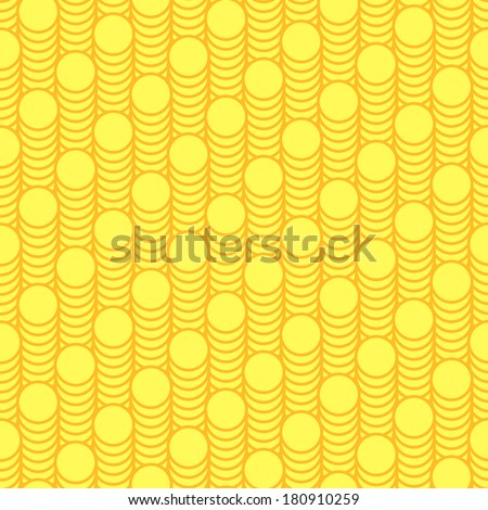 Seamless pattern scales of gold coins - vector illustration - stock vector