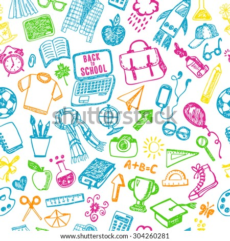 Seamless pattern school. Back to school illustration. Sketch set. - stock vector