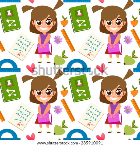 Seamless pattern Schoolgirl, backpack, it's time for school, ruler, books, apple, education. Cute children's pattern  in a vector. School Supplies. Back to School. - stock vector