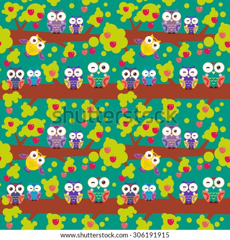 seamless pattern set bright colorful owls on the branch of a tree with red apples on dark green background. Vector - stock vector