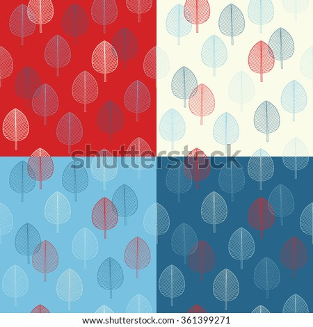 Seamless pattern set. Leaves on a white, red, and blue background.