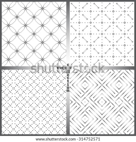 Seamless pattern. Set of four abstract textured backgrounds. Modern stylish textures. Regularly repeating geometrical ornaments. Vector element of graphical design