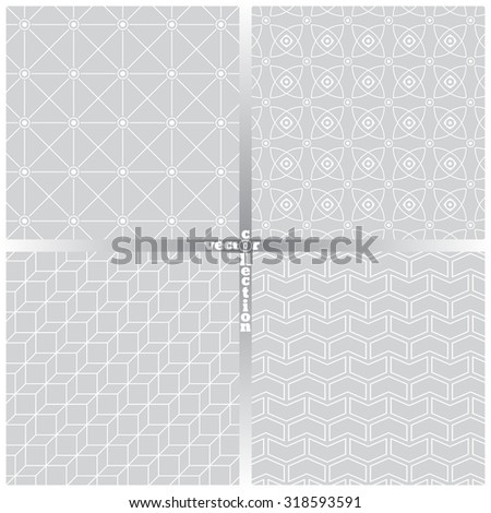 Seamless pattern. Set of four abstract textured backgrounds. Modern stylish textures. Regularly repeating geometrical ornaments. Hexagon. Rhombus. Star. Polygon. Vector element of graphical design - stock vector