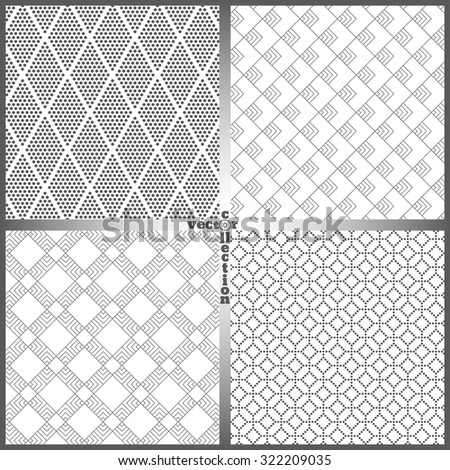 Seamless pattern. Set of four abstract textured backgrounds. Retro stylish textures. Regularly repeating geometrical ornaments. Vector element of graphical design