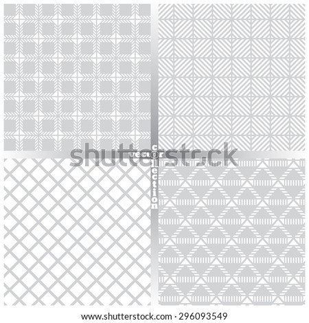 Seamless pattern. Set of four simple classical textures. Regularly repeating geometrical elements, shapes, strips, rhombuses, lines, squares. Backdrop. Web. Vector element of graphic design