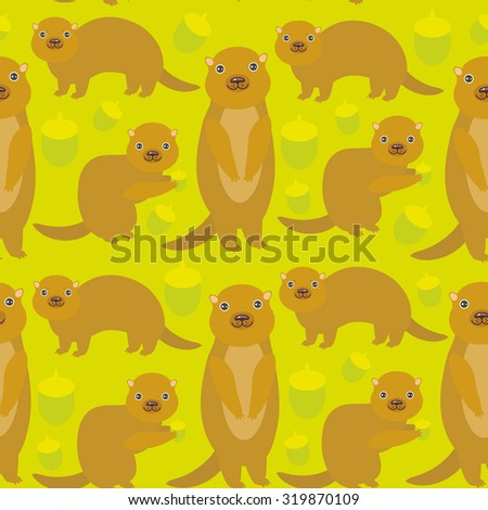 Seamless pattern Set of funny Gopher ground squirrel with acorn on green background. Vector - stock vector